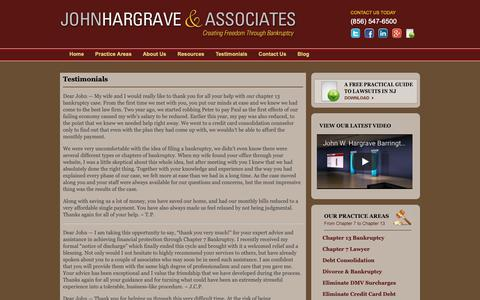 Screenshot of Testimonials Page hargravelaw.com - Testimonials of Bankruptcy Lawyers in Barrington, NJ | John W. Hargrave and Associates - captured Oct. 14, 2018