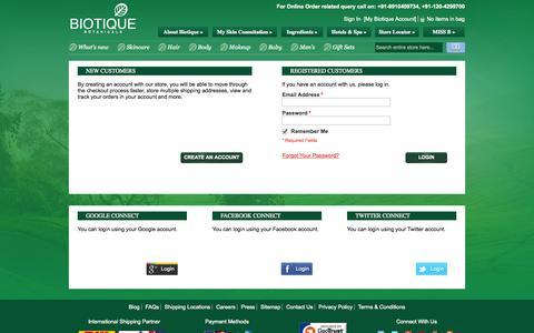 Screenshot of Login Page biotique.com - Customer Login - captured Oct. 29, 2014