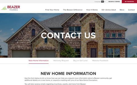 Screenshot of Contact Page beazer.com - Contact Us - New Home Information - Beazer Homes - captured Aug. 6, 2018