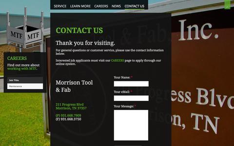 Screenshot of Contact Page morrisontool.com - Contact Us | Morrison Tool - captured Oct. 9, 2014