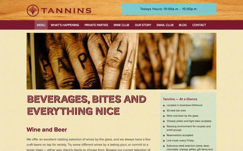 Screenshot of Menu Page tanninswine.com - Tannins Wine Bar Elmhurst • Chicagoland's Finest Wine • Menu - captured Oct. 9, 2014