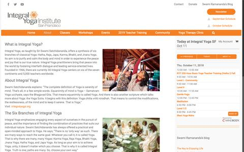 Screenshot of About Page integralyogasf.org - Integral Yoga San Francisco: About Us | Integral Yoga San Francisco - captured Oct. 12, 2018