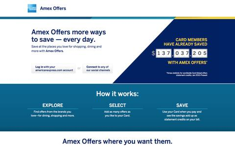 Screenshot of Home Page amexoffers.com - Amex Offers - captured Jan. 23, 2015