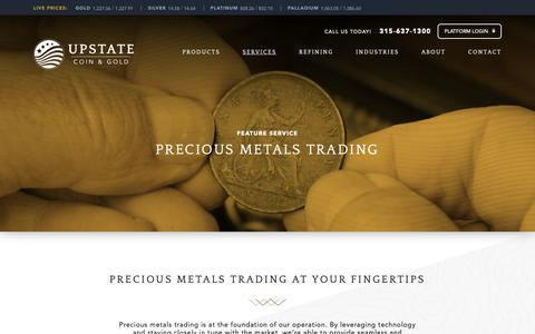 Screenshot of Services Page upstatecoins.com - Precious Metals Trading - UPSTATE Coin - Gold - captured Oct. 19, 2018