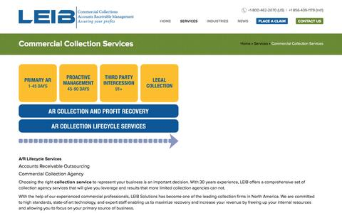 Screenshot of Services Page leibsolutions.com - Collection Agency, Collection Agencies,Commercial Collection Agency | Leib Solutions - captured July 9, 2016