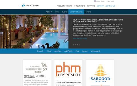 Screenshot of Testimonials Page siteminder.com - Customer Success - SiteMinder - captured May 3, 2017
