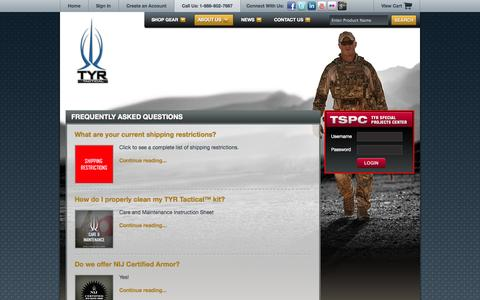 Screenshot of FAQ Page tyrtactical.com - Frequently Asked Questions  |  TYR Tactical - captured Oct. 1, 2014
