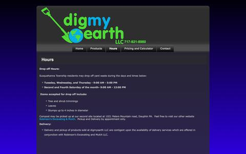 Screenshot of Hours Page digmyearth.com - digmyearth LLC - Hours and Pricing - captured July 2, 2018