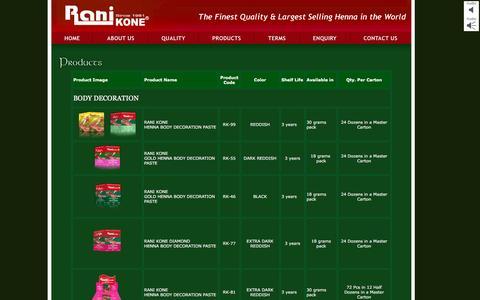 Screenshot of Products Page ranikone.com - Rani Kone - captured Dec. 19, 2016