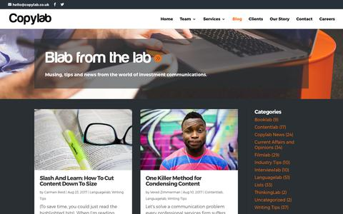 Screenshot of Blog copylab.co.uk - Copylab Blog: News, Tips and Views on Investment Communications - captured Aug. 26, 2017