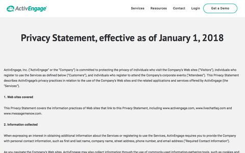 Screenshot of Privacy Page activengage.com - Privacy Statement, effective as of January 1, 2018 - ActivEngage - captured Nov. 9, 2019