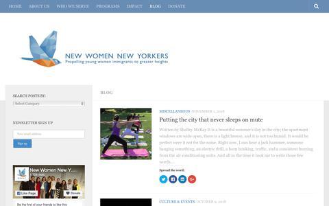 Screenshot of Blog nywomenimmigrants.org - New Women New Yorkers Blog - captured Nov. 16, 2018