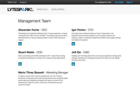 Screenshot of Team Page lytespark.com - Management Team - captured Dec. 13, 2015