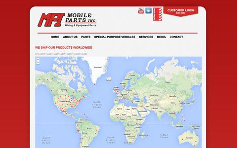 Screenshot of Maps & Directions Page mobileparts.com - MPI MOBILE PARTS INC   » WE SHIP OUR PRODUCTS WORLDWIDE - captured Oct. 4, 2014