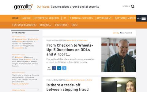 Screenshot of Blog gemalto.com - Gemalto blog - Conversations around digital security - captured April 12, 2018