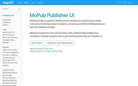 Screenshot of Developers Page mopub.com - MoPub Publisher UI   MoPub Developers - captured Nov. 16, 2018