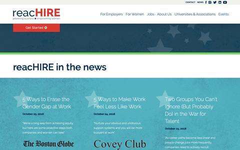 Screenshot of Press Page reachire.com - In the News - captured Nov. 2, 2018