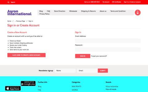 Screenshot of Login Page mybigcommerce.com - Aaron International  - Sign in - captured Nov. 4, 2014