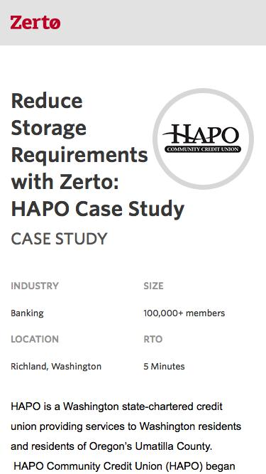 HAPO Reduce Storage Requirements with Zerto