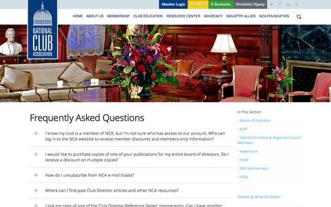 Screenshot of FAQ Page nationalclub.org - National Club Association - Frequently Asked Questions - captured Feb. 13, 2016