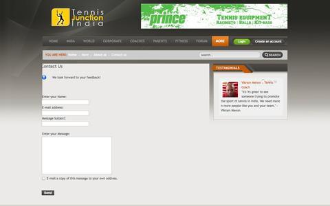 Screenshot of Contact Page tennisjunction.in - Contact Us - captured Oct. 7, 2014