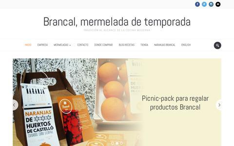 Screenshot of Home Page brancalmelmelada.com - Brancal, mermelada de temporada. Venta mermelada online. - captured July 29, 2016