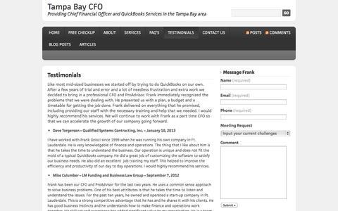 Screenshot of Testimonials Page tampabaycfo.com - Testimonials | Tampa Bay CFO - captured Oct. 1, 2014