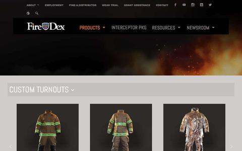 Screenshot of Products Page firedex.com - FIRE-DEX: HEALTH & SAFETY-FOCUSED FIREFIGHTER PPE - captured Aug. 13, 2018