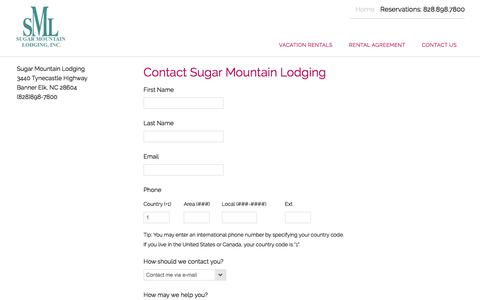 Screenshot of Contact Page sugarmountainlodging.com - Sugar Mountain Lodging | Contact Us - captured July 2, 2018