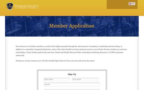 Screenshot of Signup Page honorsociety.org - Member Application | Honor Society - captured Sept. 29, 2018