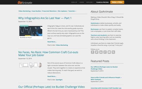 Screenshot of Blog goanimate.com - Home | Video Maker Tips - captured Sept. 18, 2014