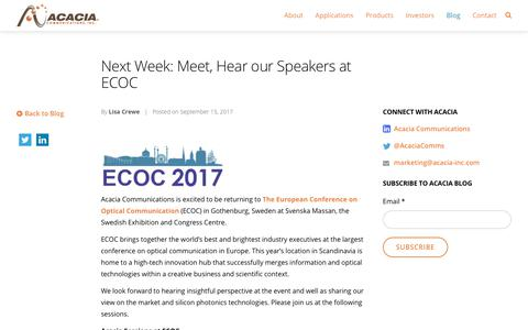 Next Week: Meet, Hear our Speakers at ECOC - Acacia Communications, Inc.
