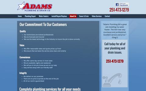 Screenshot of About Page adamsplumbingcompany.com - Grease Trap/Interceptor   Cleaning   Installation   Mobile, AL - captured Nov. 2, 2014