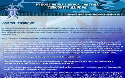 Screenshot of Testimonials Page mitoinsulation.com - Mito Customer Testimonials - captured Oct. 9, 2014