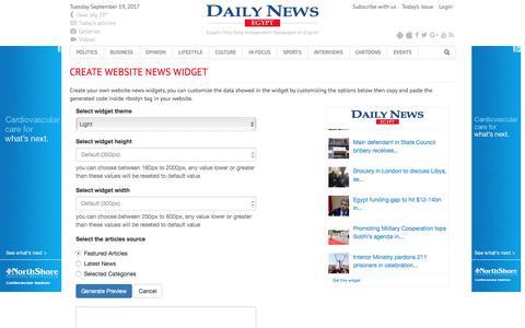 Screenshot of Developers Page dailynewsegypt.com - Create website news widget - Daily News Egypt - captured Sept. 20, 2017