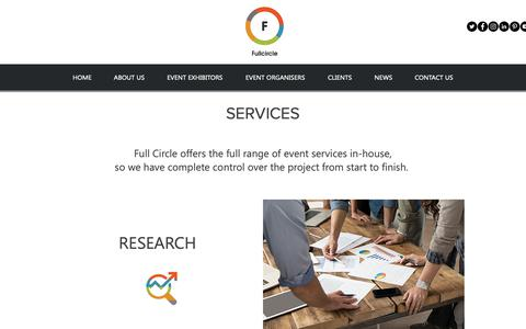 Screenshot of Services Page fullcircleeventsltd.co.uk - The full range of services for exhibitors to deliver successful stands - captured Oct. 11, 2018