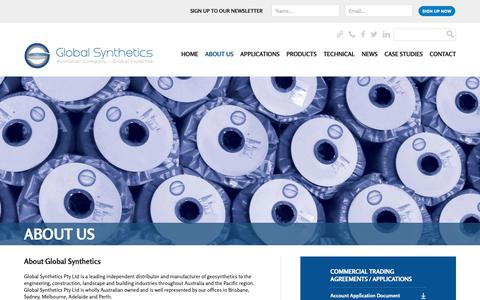Screenshot of About Page globalsynthetics.com.au - About Global Synthetics | Geotextiles | Geosynthetics | Geogrids - captured Dec. 8, 2018