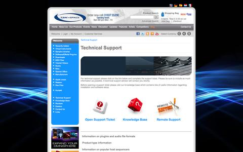 Screenshot of Support Page timespace.com - Technical Support - Time+Space | Virtual Instruments, VST Plugins, Sample Libraries, Sample CDs, Downloads, Tutorial DVDs, Hardware and Software - captured Oct. 7, 2014