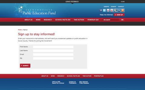 Screenshot of Signup Page jaxpef.org - Jacksonville Public Education Fund - Signup - captured Oct. 6, 2014