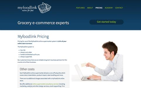 Screenshot of Pricing Page myfoodlink.com - Myfoodlink grocery ecommerce shopping cart pricing - captured Oct. 9, 2014