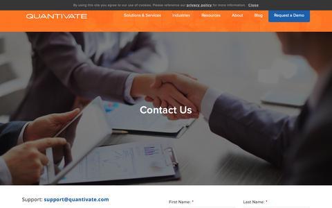 Screenshot of Contact Page quantivate.com - Contact Us | Compliance and Risk Management Software | Quantivate - captured Nov. 21, 2018