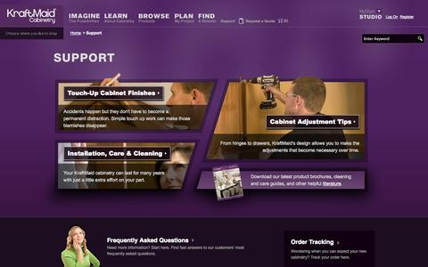 Screenshot of Support Page kraftmaid.com - Support - KraftMaid Cabinetry - captured Oct. 27, 2014