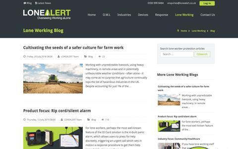 Screenshot of Blog lonealert.co.uk - Lone working blog from LONEALERT - captured July 23, 2018