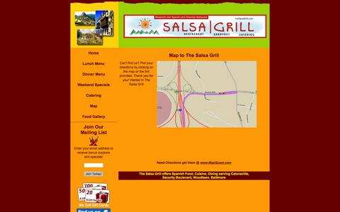 Screenshot of Maps & Directions Page eatsalsagrill.com - The Salsa Grill :: Spanish Latin American Restaurant :: Woodlawn - captured June 22, 2016