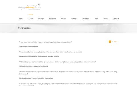 Screenshot of Testimonials Page advisorysupport.co.uk - Business Advisory Support Testimonials & Great Reviews - captured Oct. 5, 2014