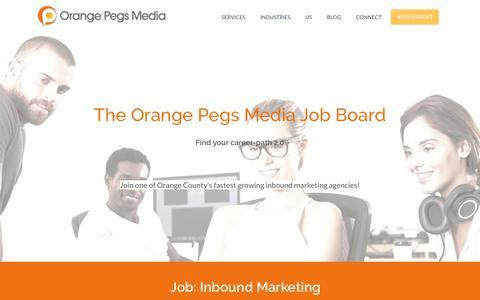 Screenshot of Jobs Page orangepegs.com - Orange County's Finest Inbound Agency is Hiring! - captured Oct. 21, 2017