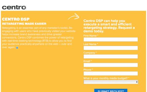 Screenshot of Landing Page centro.net - Centro DSP. Retargeting made easier. - captured Feb. 10, 2016