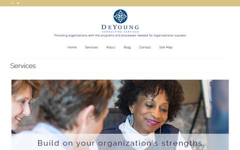 Screenshot of Services Page deyoungconsultingservices.com - Services - DeYoung Consulting Services, Minneapolis, Minnesota | Nationally Serving Nonprofits and Public Sector Clients - captured Oct. 12, 2017