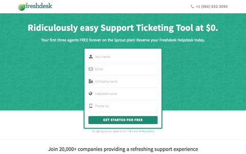Screenshot of Landing Page freshdesk.com - Freshdesk ticketing system at $0 | Start supporting customers for FREE - captured Oct. 27, 2014