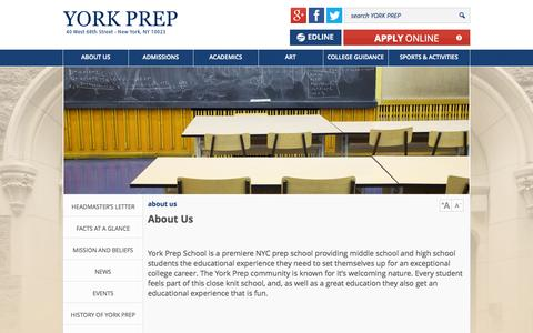 Screenshot of About Page yorkprep.org - About York Prep  | York Prep - captured Oct. 27, 2014